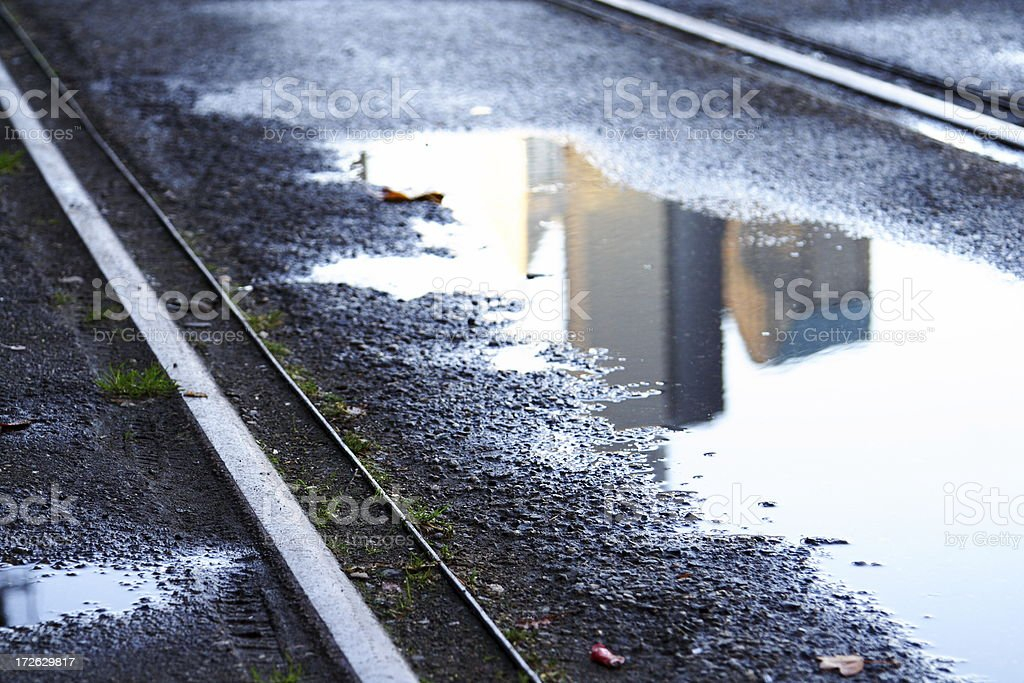 Railroad with city reflection stock photo