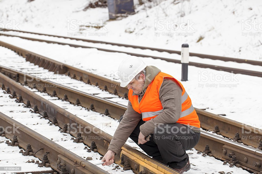 Railroad worker royalty-free stock photo