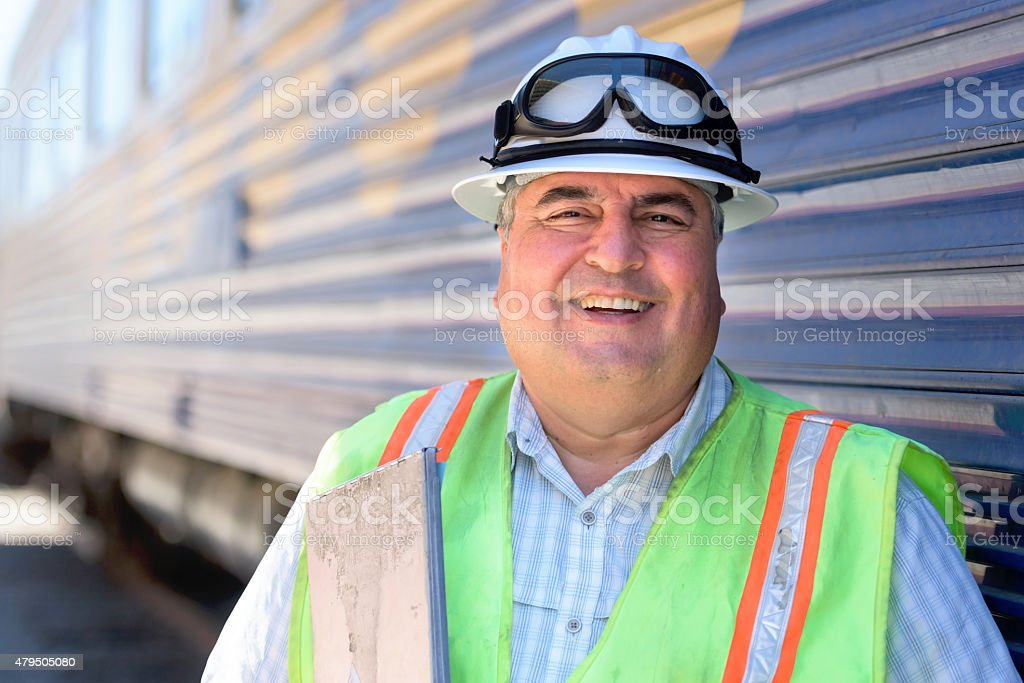 Railroad worker stock photo