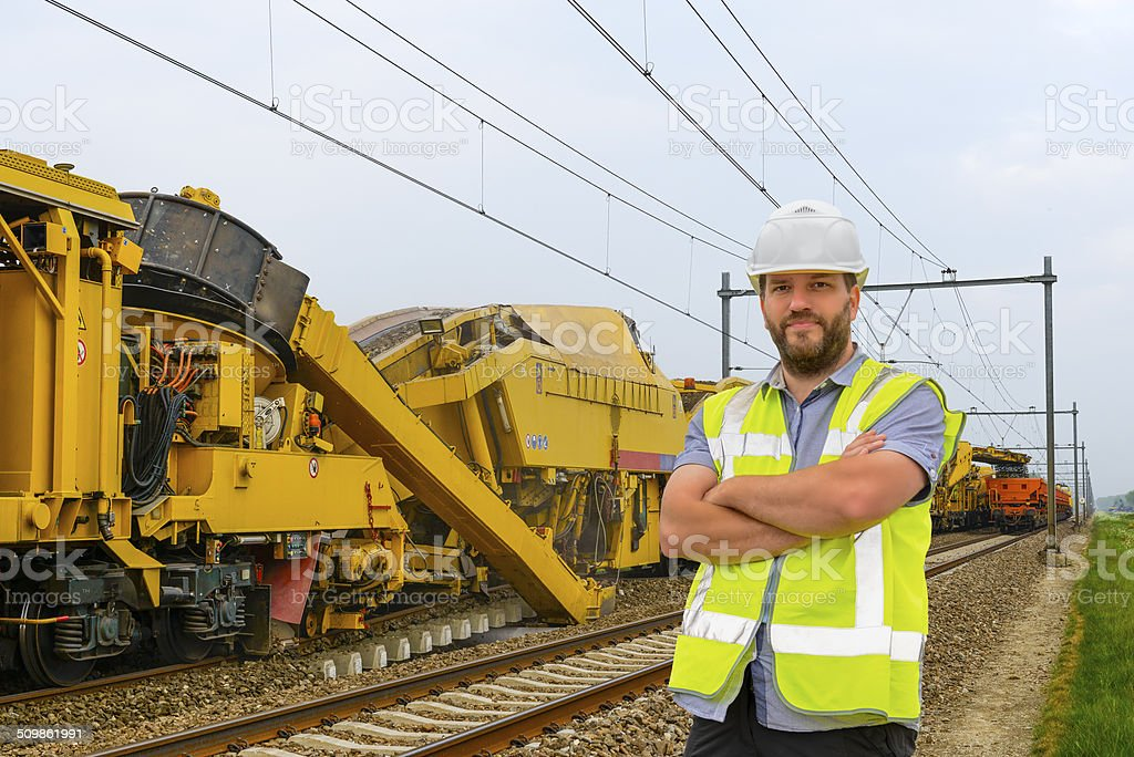 Railroad worker stock photo