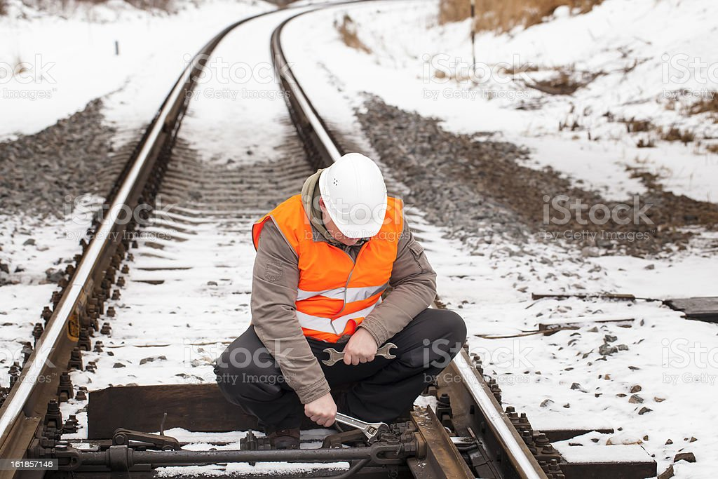 Railroad worker with wrench stock photo