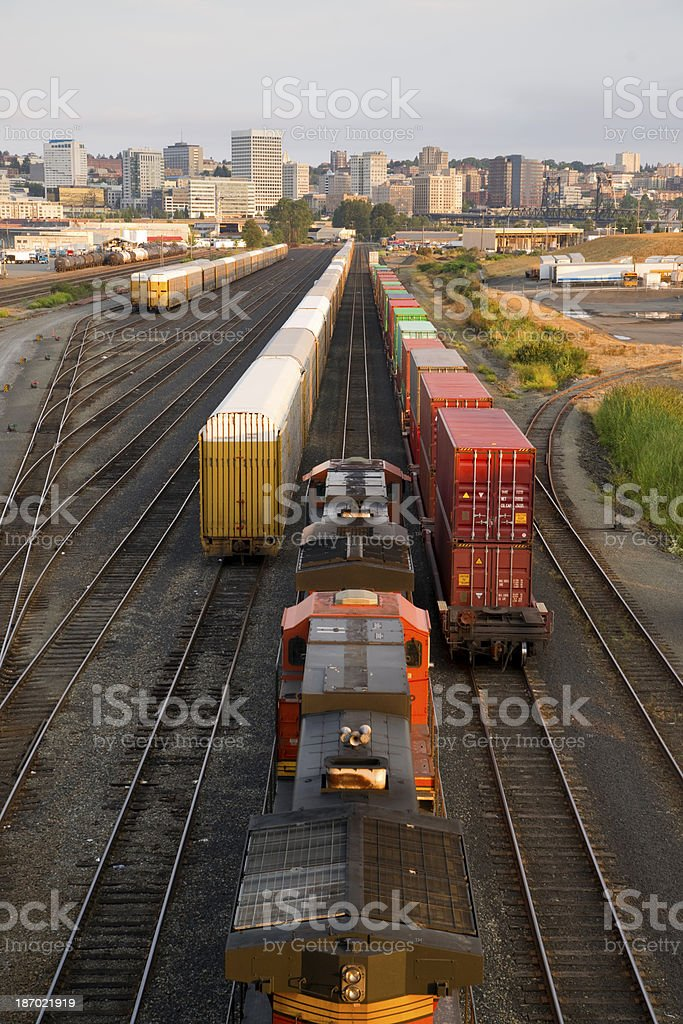Railroad Yard Boxcars Cargo Containers Train Tracks Downtown Tacoma stock photo