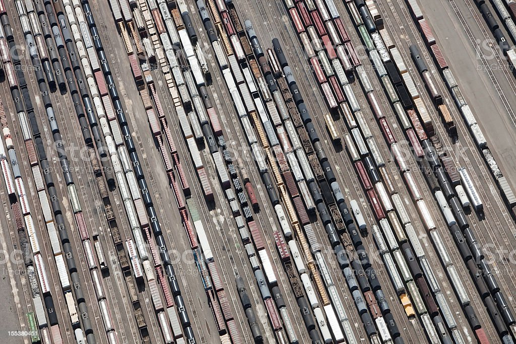 Railroad Yard with Cars Aerial stock photo