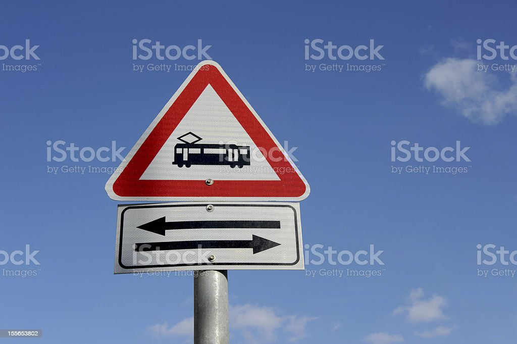 Railroad Yield Sign Against Blue Sky royalty-free stock photo