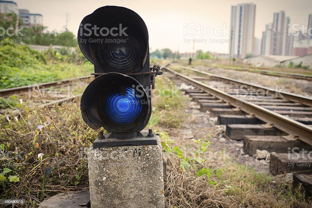 Rails and night lights royalty-free stock photo