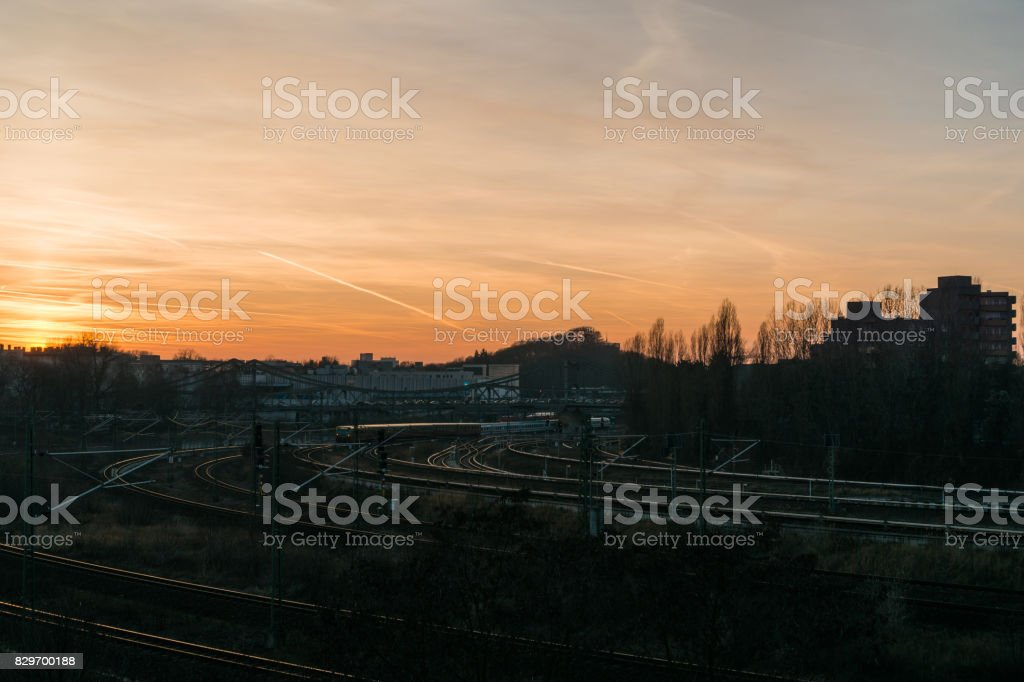 rails at berlin in the afternoon stock photo