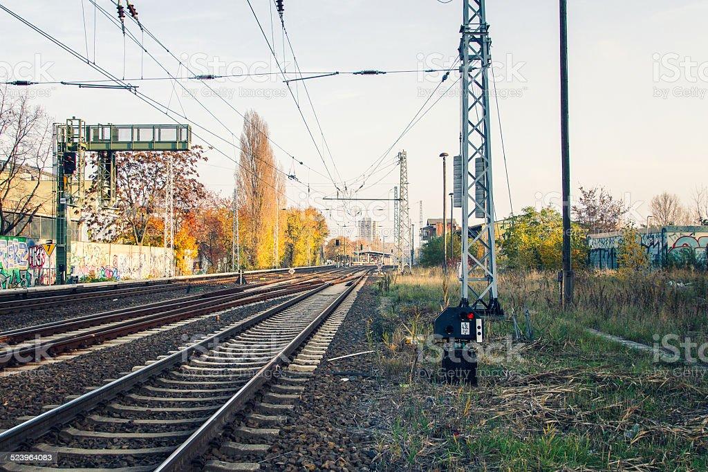 rails in direction to greifswalder stra?e berlin stock photo