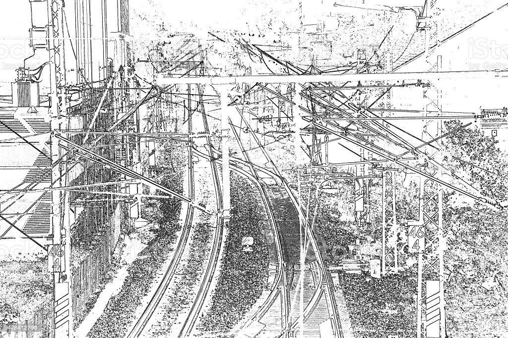 rails in Germany in nline drawing stock photo