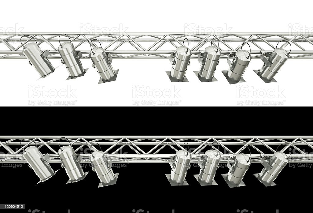 Rails of stage lighting on white and black backgrounds stock photo