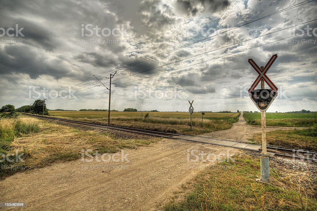 Rails on road stock photo