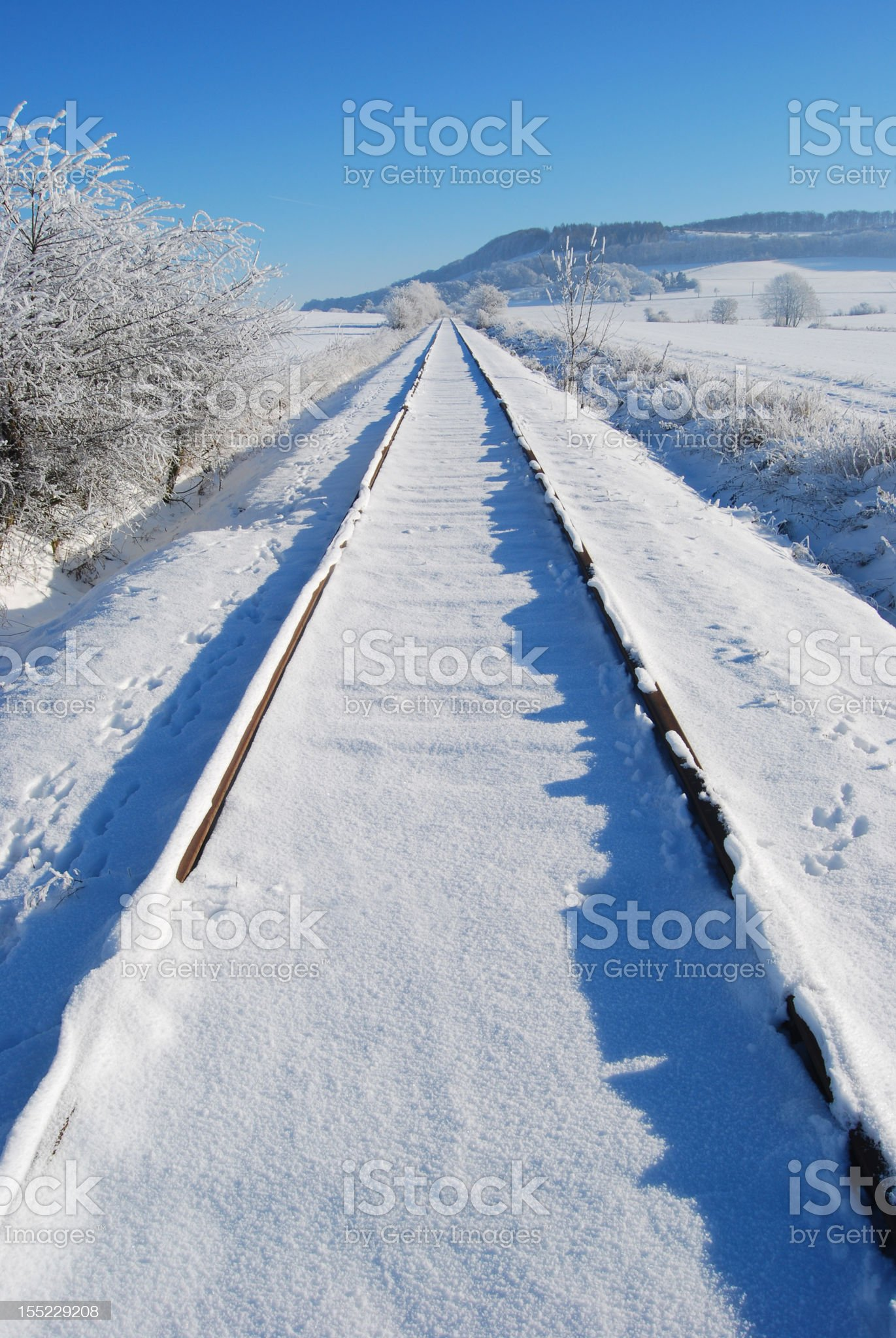 rails to winter holidays royalty-free stock photo