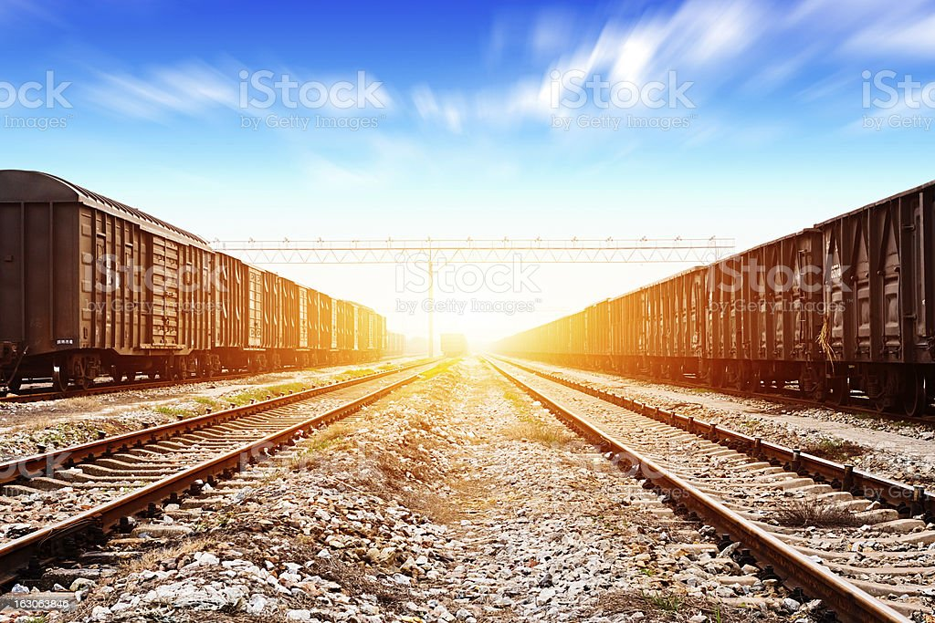 Rails under the sky background stock photo
