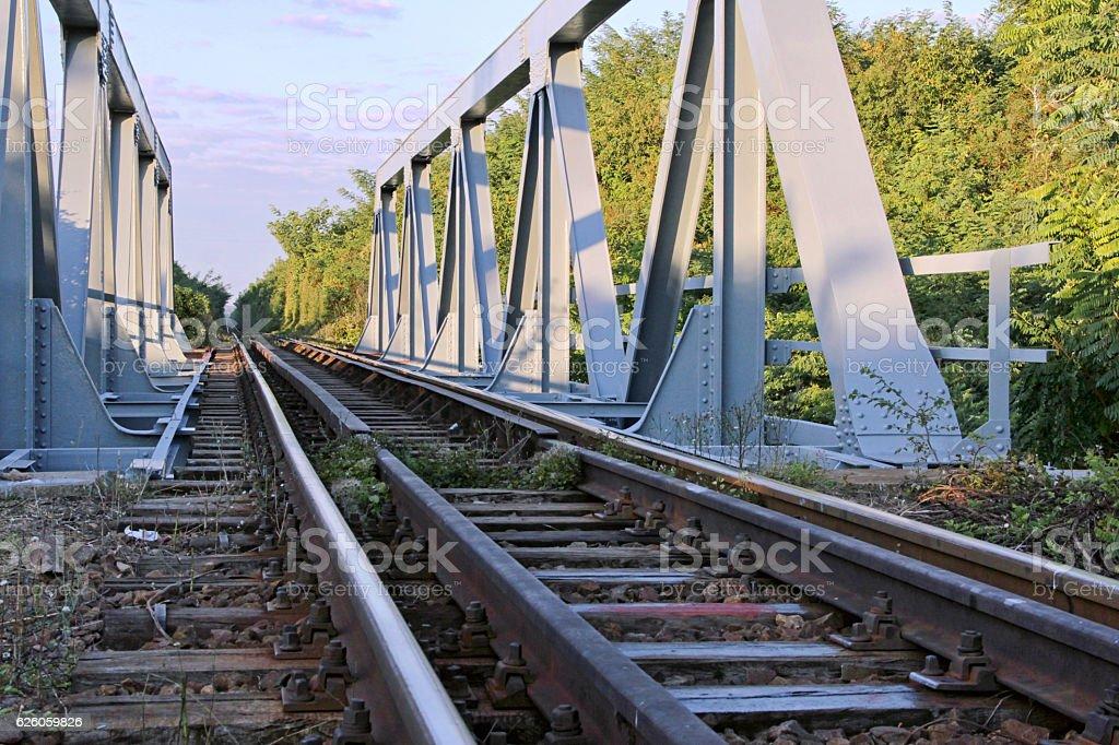 Railway across the bridge stock photo