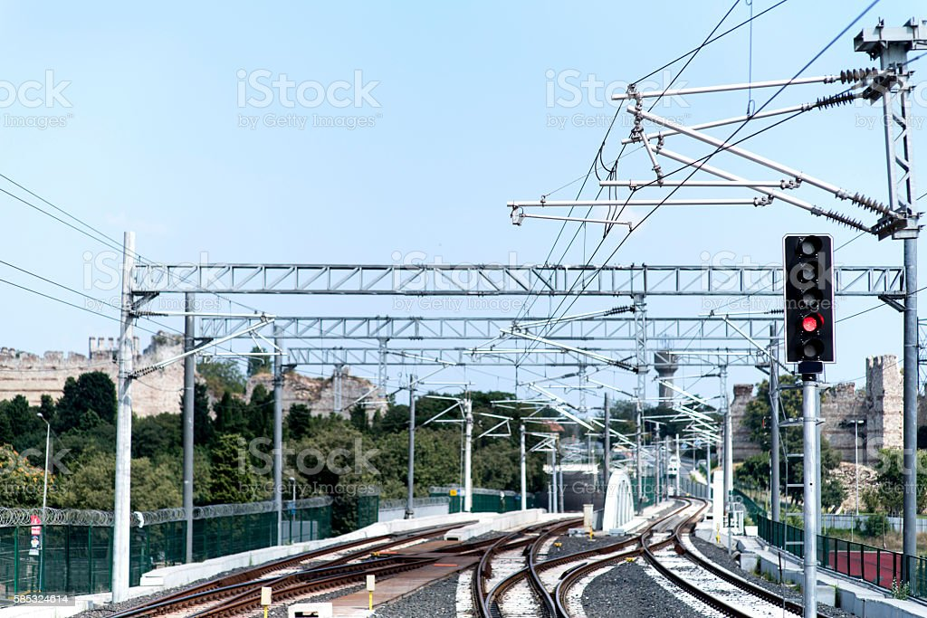 Railway and high-voltage lines stock photo