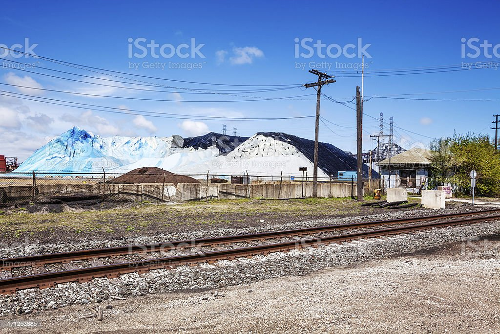 Railway and Industry in Chicago stock photo