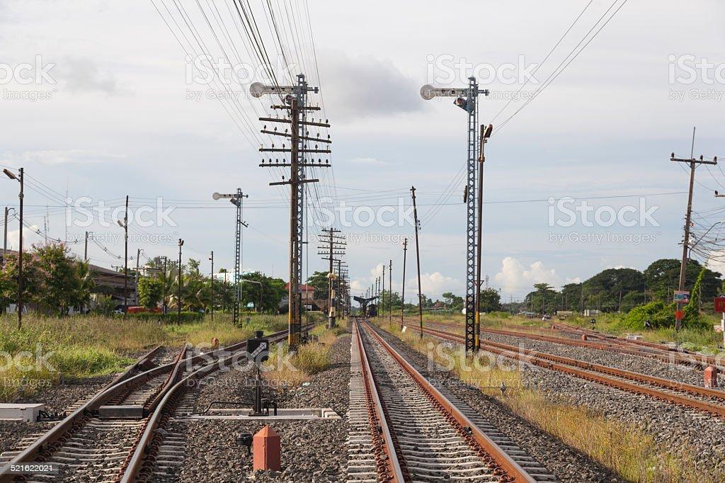 Railway and telegraph poles stock photo