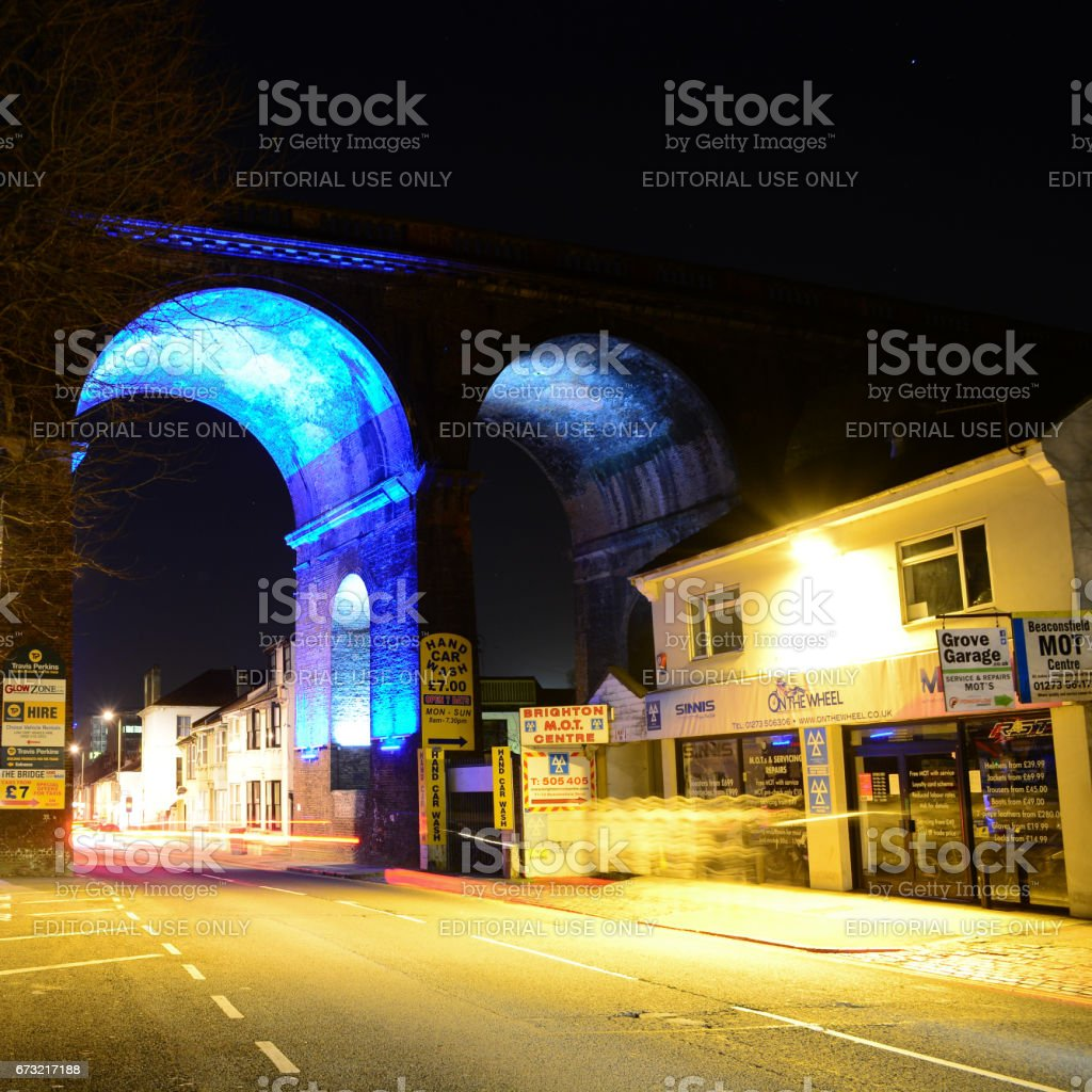 Railway Arches and Local Garage Repair Shop stock photo