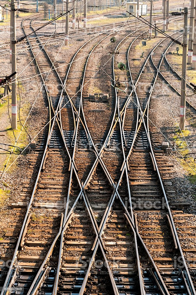 Railway area with rails and wires stock photo