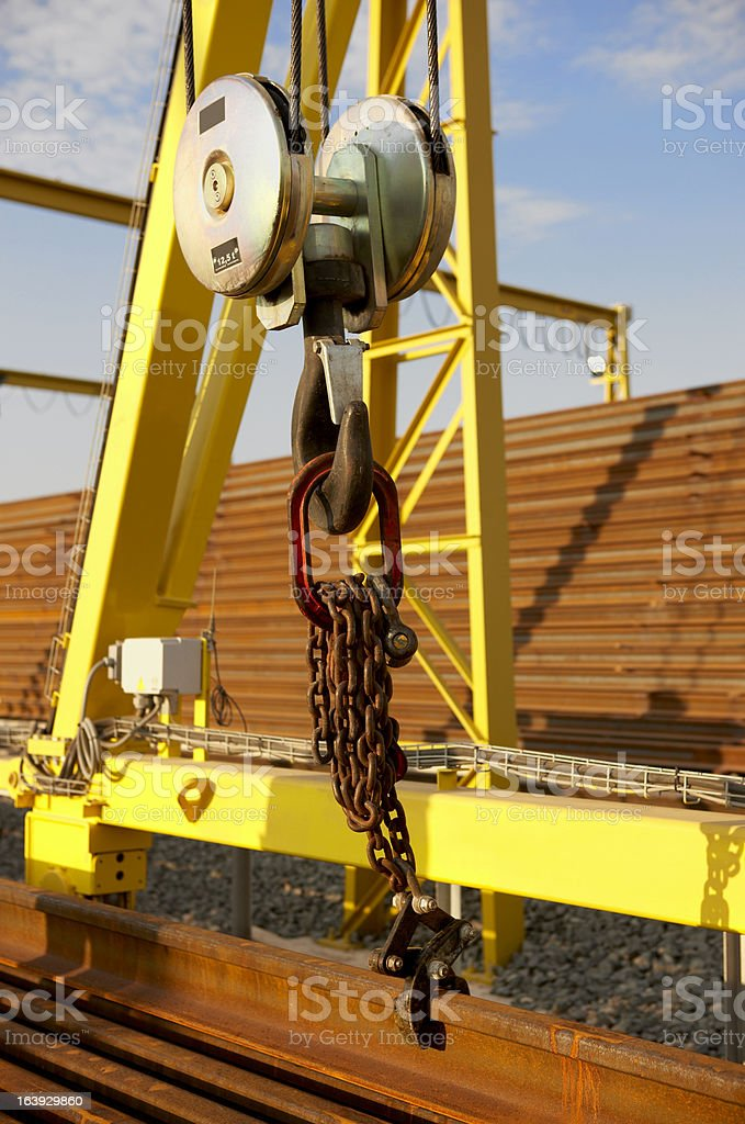 Railway assembly process royalty-free stock photo