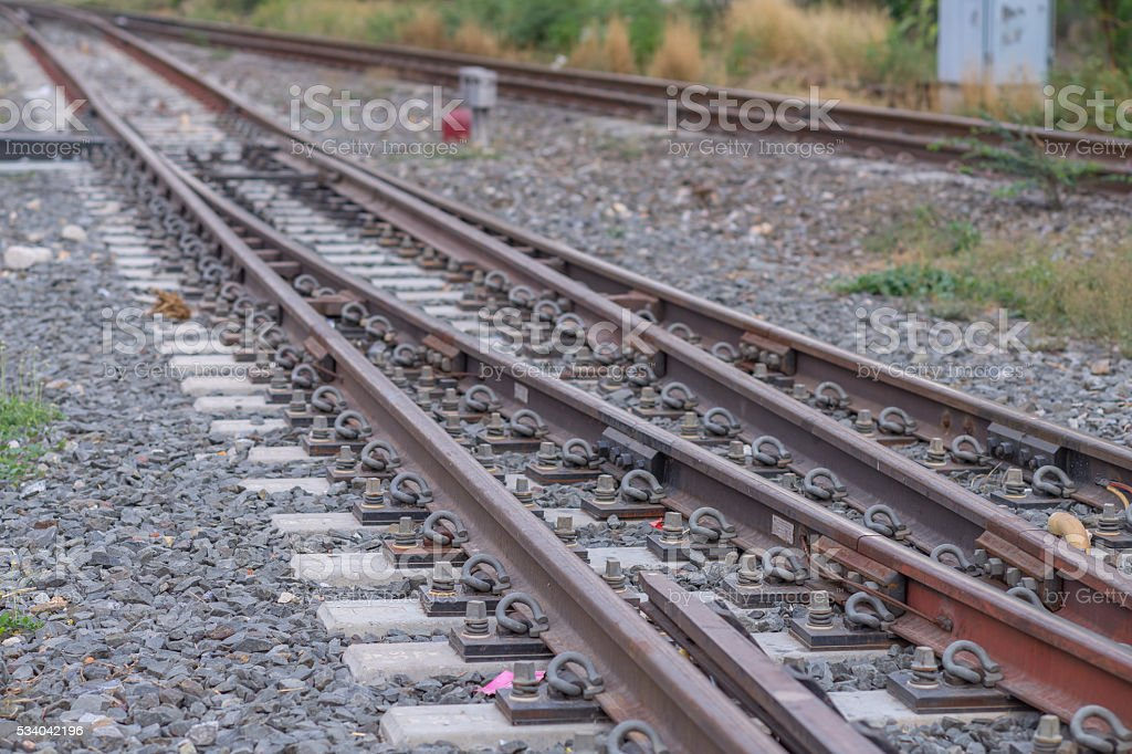 Railway at the platform and blur background stock photo