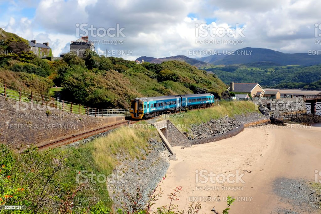 Railway, Barmouth, Wales. stock photo