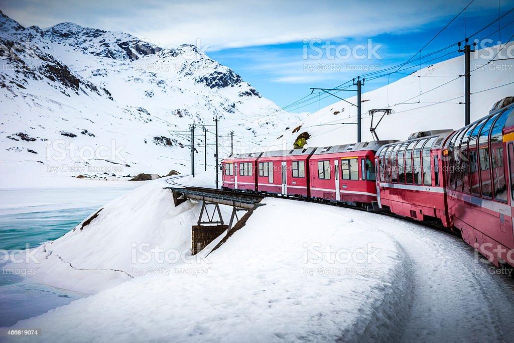 Railway between mountains stock photo