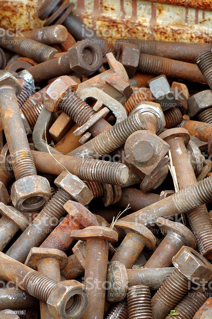 railway bolts scrap royalty-free stock photo