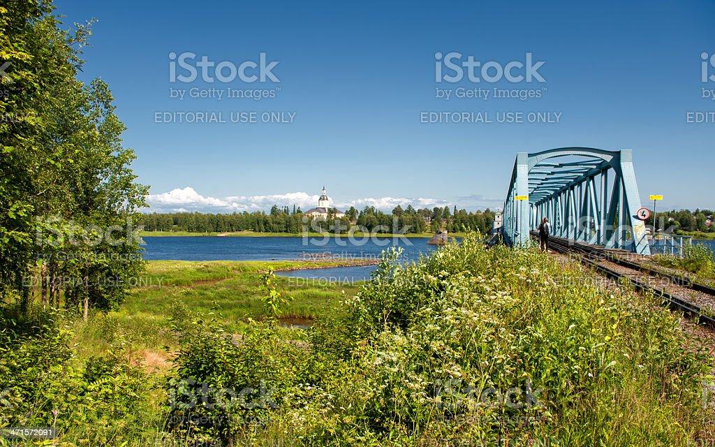 Railway bridge across Torne River royalty-free stock photo