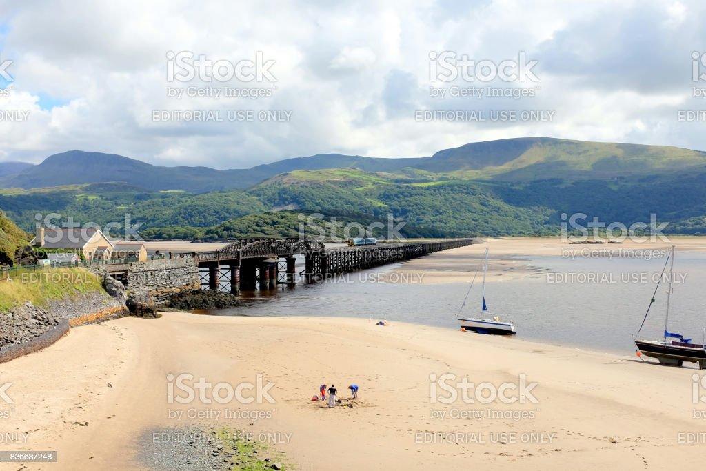 Railway bridge, Barmouth, Wales. stock photo
