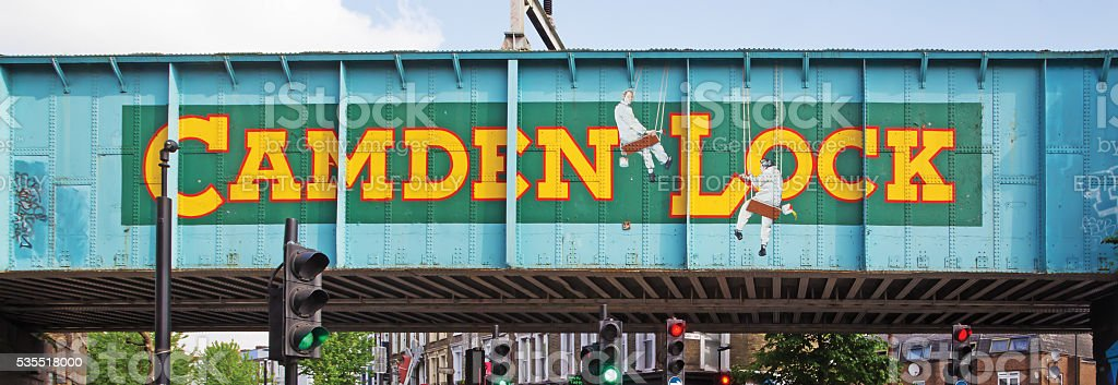 Railway bridge close to Camden Lock in London stock photo