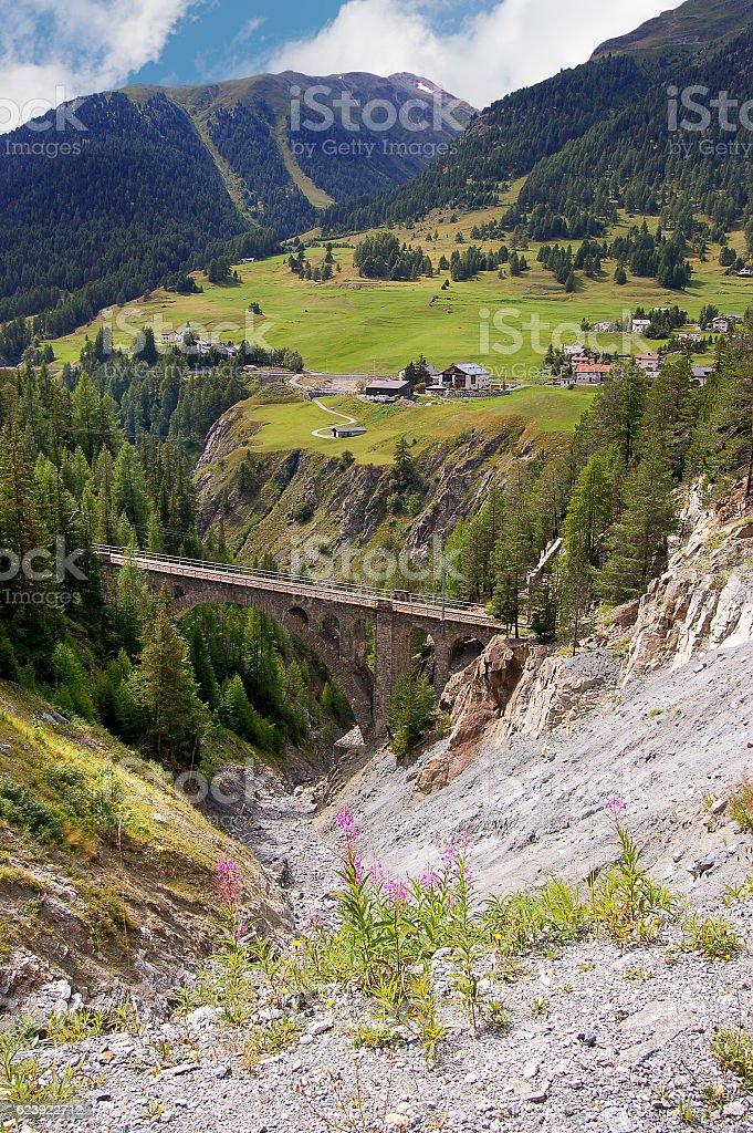 Railway Bridge - Engadine Valley Switzerland stock photo