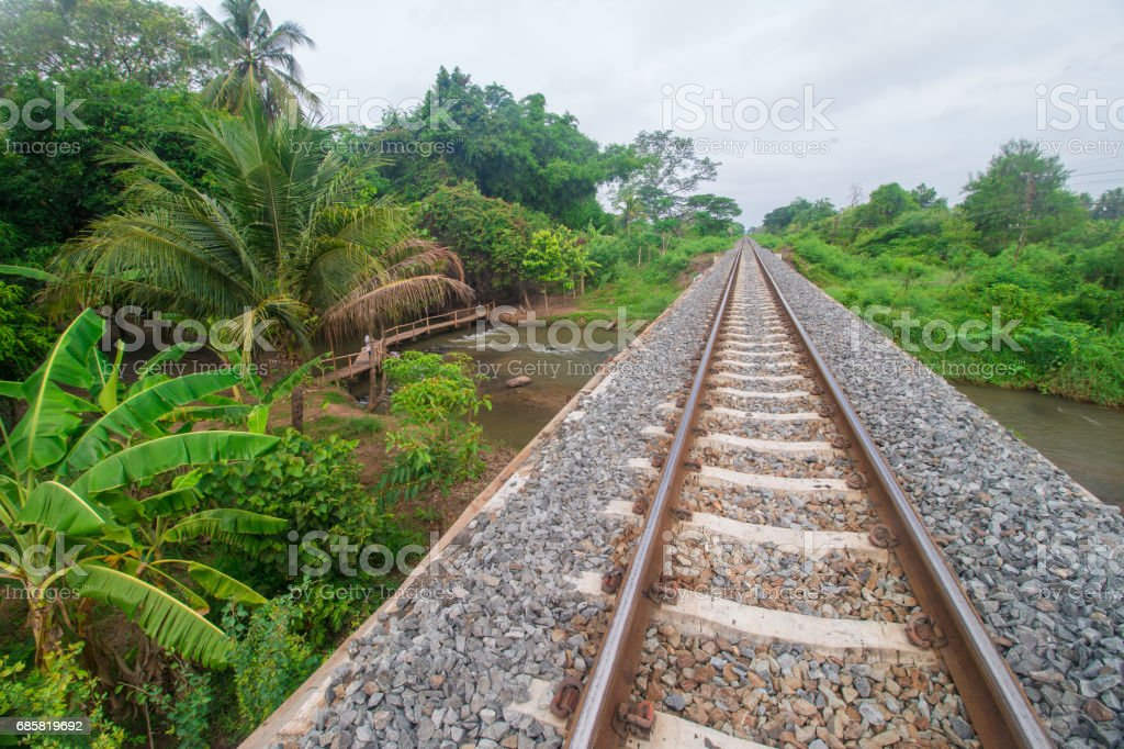 Railway bridge For crossing the river stock photo