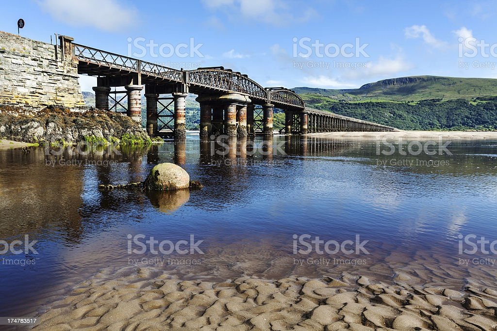 Railway Bridge in Barmouth, Wales stock photo