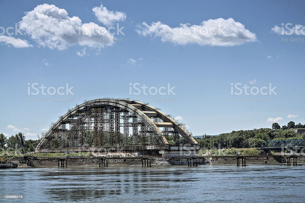 Railway bridge in progress stock photo