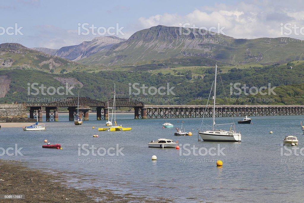 Railway bridge over Barmouth Mawddach estuary. stock photo