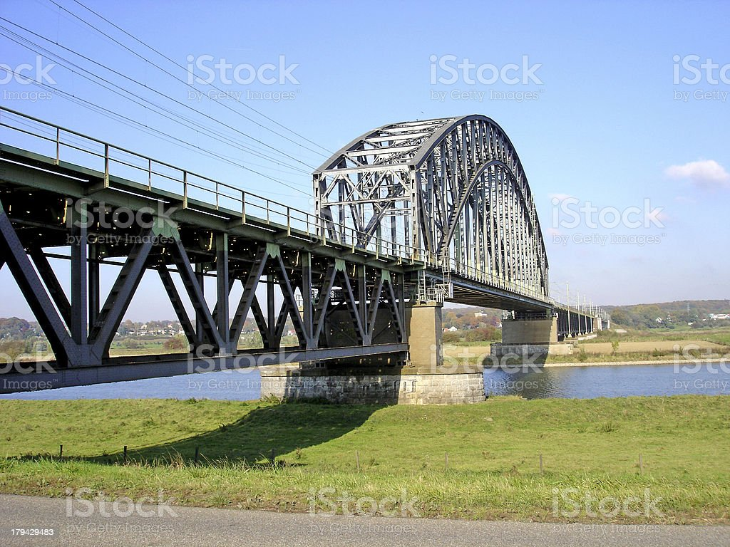 Railway bridge over river Rhine royalty-free stock photo