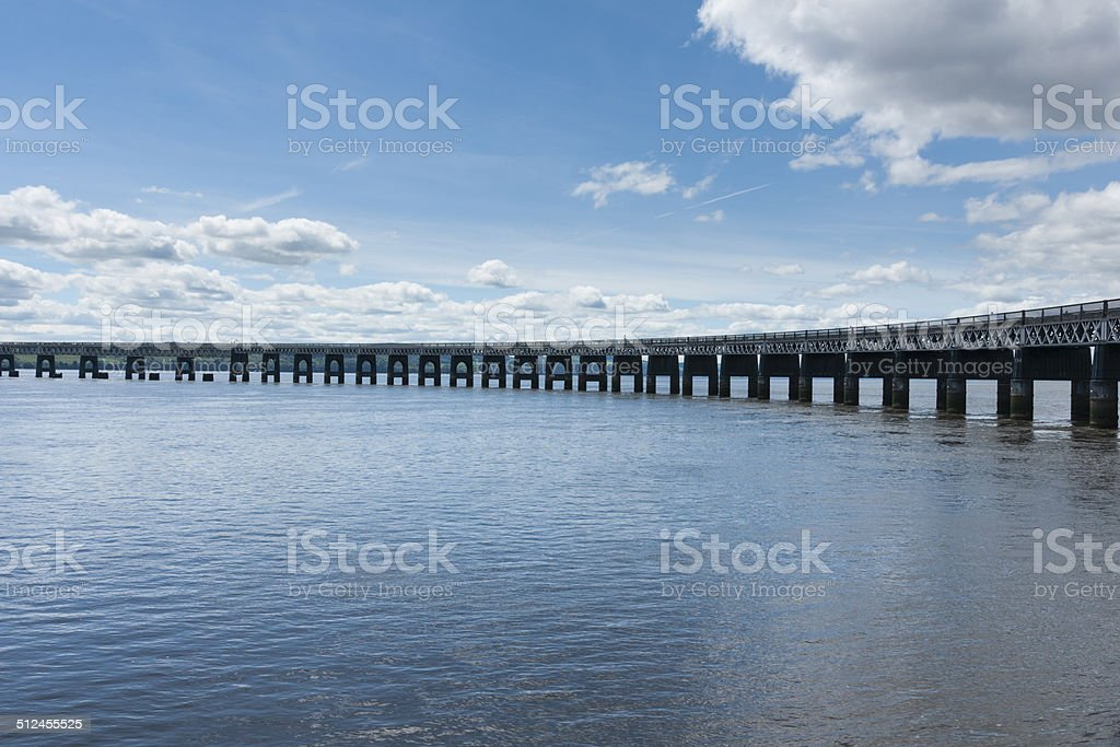 Railway bridge over the river Tay in Scotland stock photo