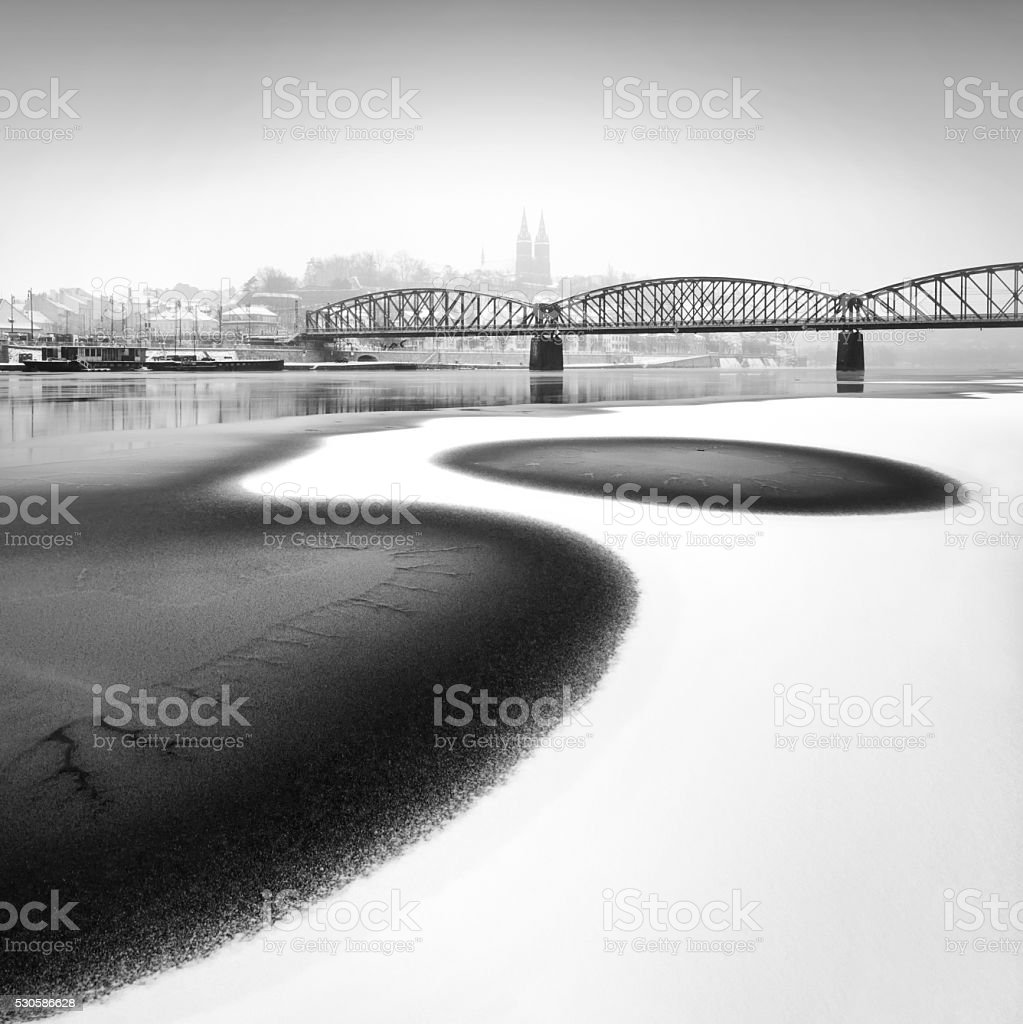 Railway Bridge, Prague, Czech republic. stock photo