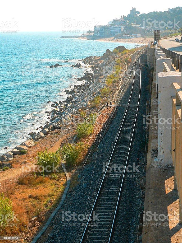 Railway by sea stock photo
