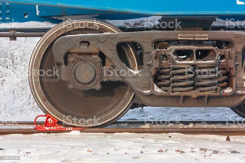 Railway carriage chassis consist from heavy steel wheels stock photo