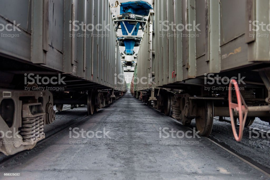 Railway cars waiting for loading in port. stock photo