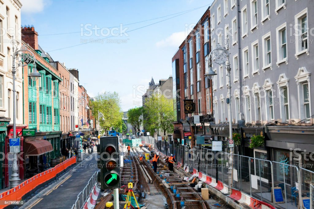 Railway Construction in Dublin, Ireland stock photo