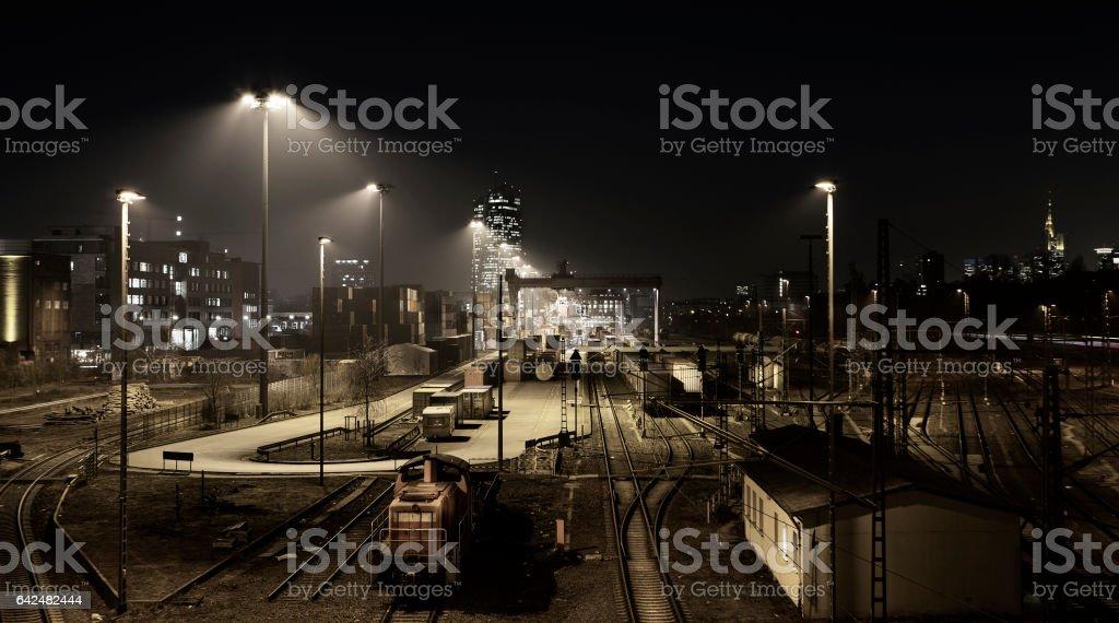 Railway container cargo terminal - Frankfurt Eastend stock photo
