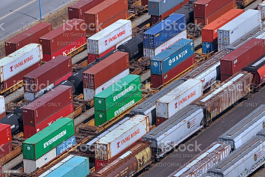 railway container cars stock photo