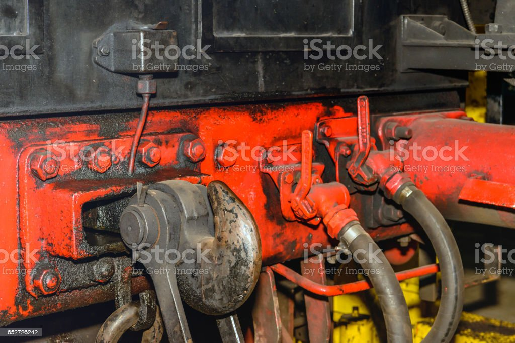 Railway coupling hook of an old steam locomotive stock photo
