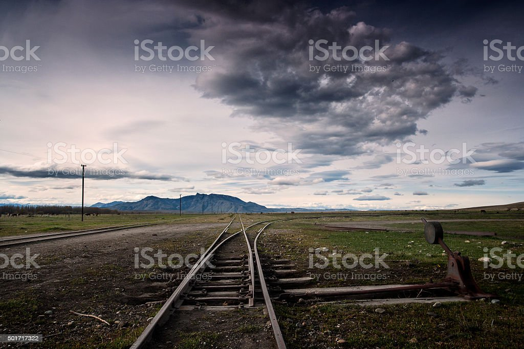 Railway crossing in Leleque, Chubut Province, Patagonia, Argentina stock photo