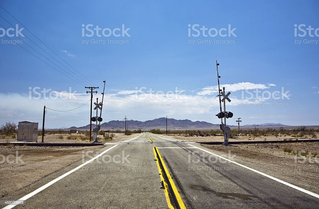 railway crossing on Route 95 royalty-free stock photo