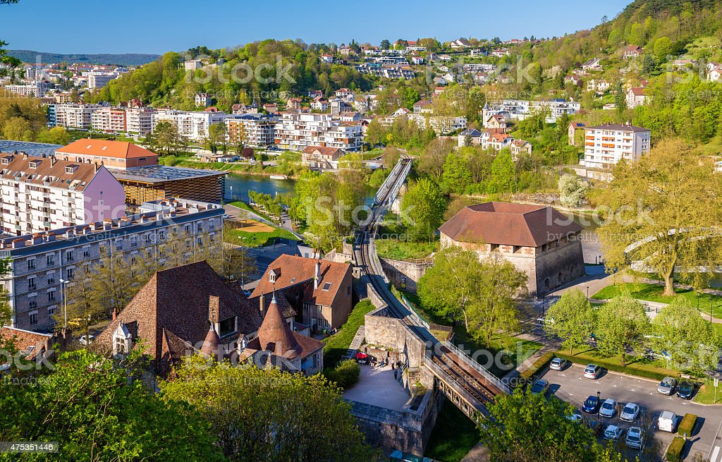Railway crossing the Doubs river in Besancon - France stock photo