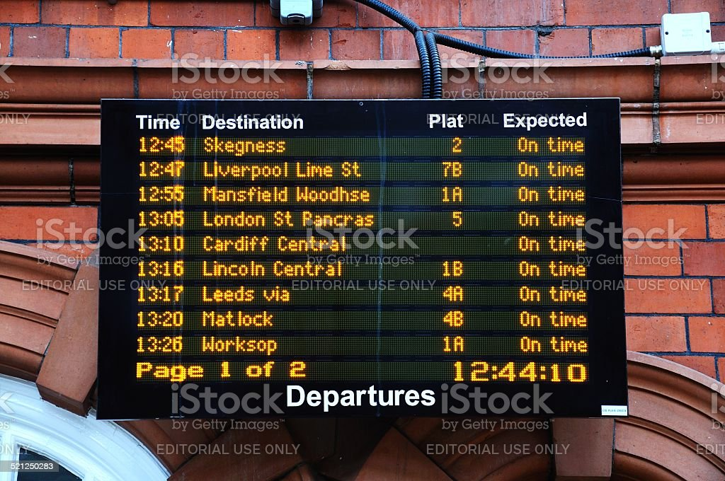Railway departure board, Nottingham. stock photo
