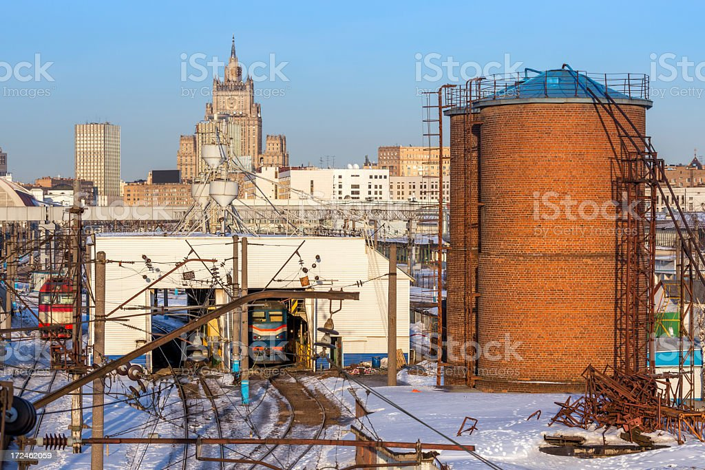 Railway depot in Moscow royalty-free stock photo